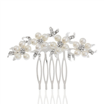 Bridal Big flower crystal hair comb,wedding silver hair combs for women