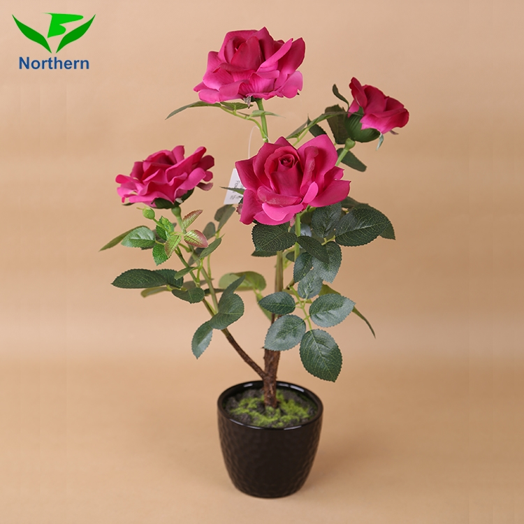 48 cm artificial rose flower in Decorative Ceramic Pot wholesale decoration flowers