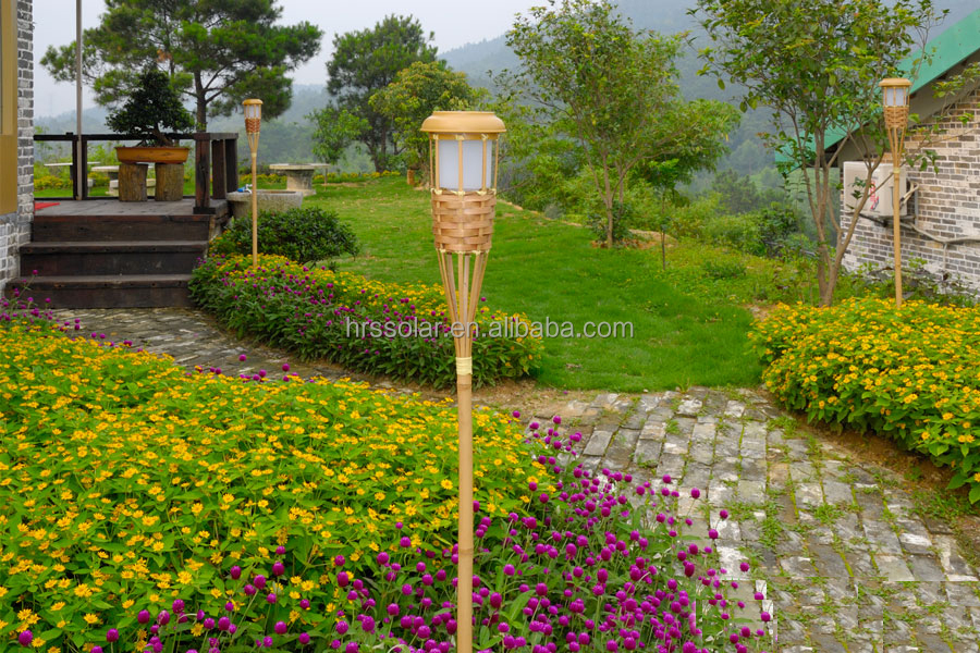 Solar Flickering Tiki Lights Bamboo Torch Garden Outdoor Path Lighting Led