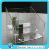 Square lucite cosmetic mascara holder, divided clear acrylic plexiglass nail polish oil case