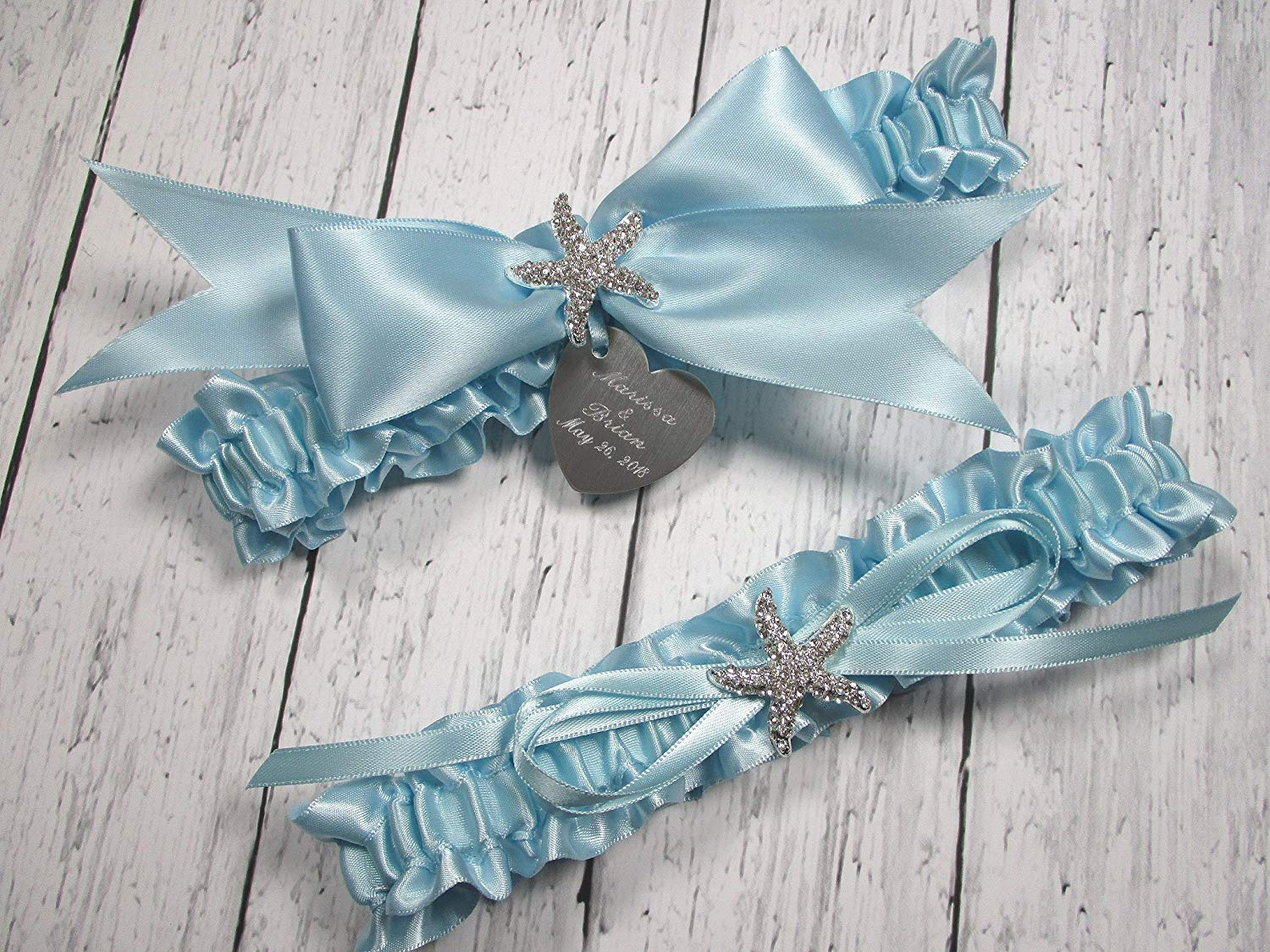 a75dc89bb Get Quotations · Beach Wedding Garter Set in Light Blue with Rhinestone  Starfish and Personalized Engraving