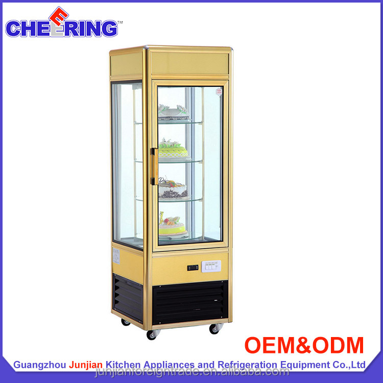 Four sided glass door cake display merchandising refrigerator showcase