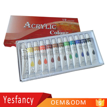 best quality OEM logo 12ml non toxic bright colors acrylic paints fading resistant acrylic paint art supplies