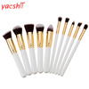yaeshii high quality 10pcs kabuki make up brush crystal bamboo cosmetic tool private label makeup brush