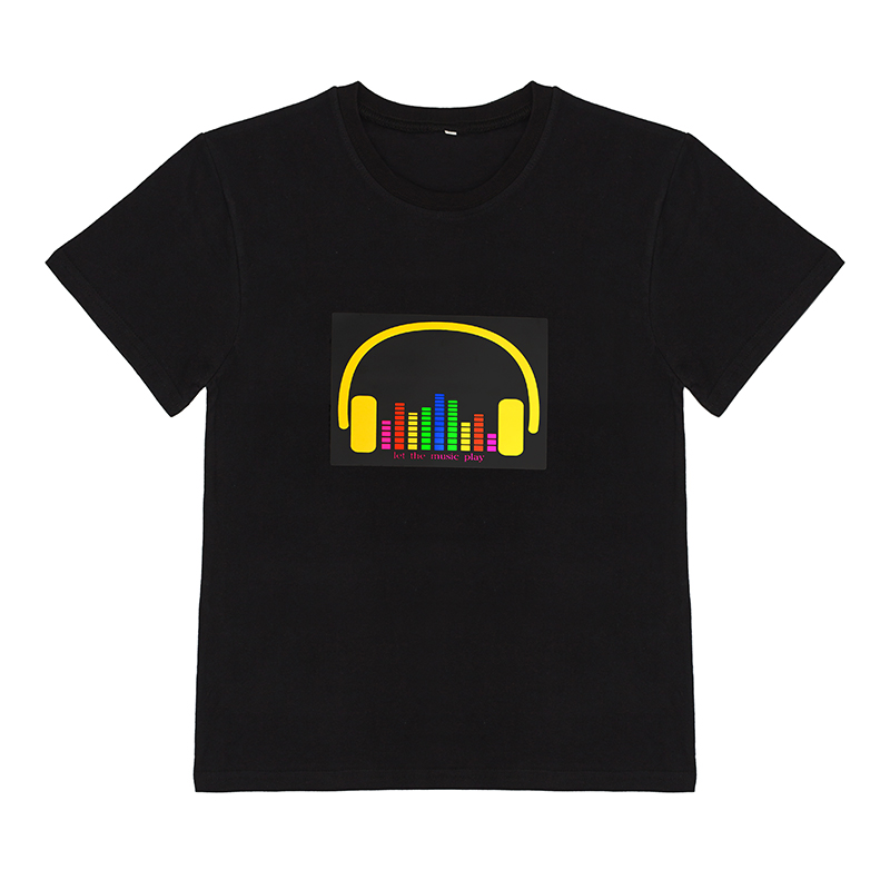 감사해 요 sound 활성화 t-shirt (high) 저 (조명 엘 t-shirt 와 yellow earphone logo