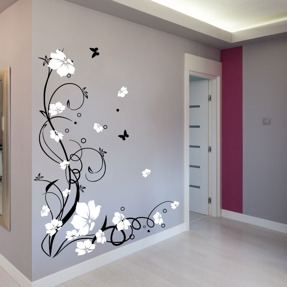 Beautiful flower wall sticker home decor for living room - Removable wall stickers living room ...