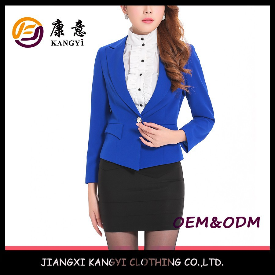 One button blue colour combination women suits fit for solemn occiasion