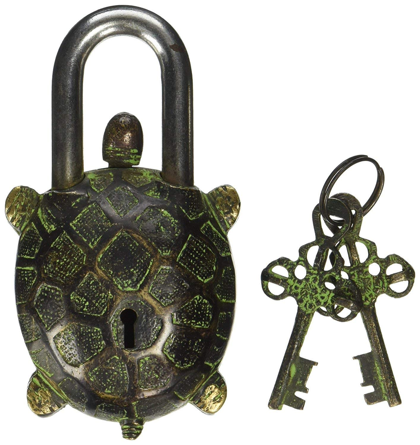 PARIJAT HANDICRAFT Turtle Monastery Lock - Solid Brass with Antique Finished in a Beautifully Ornate Padlock. Ornamental Antique Handcrafted Locks for Security and Style