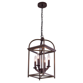 Classic Industrial Bronze Iron Rectangular Cage Lighting Fixtures Chandelier Lamps Pendant Light