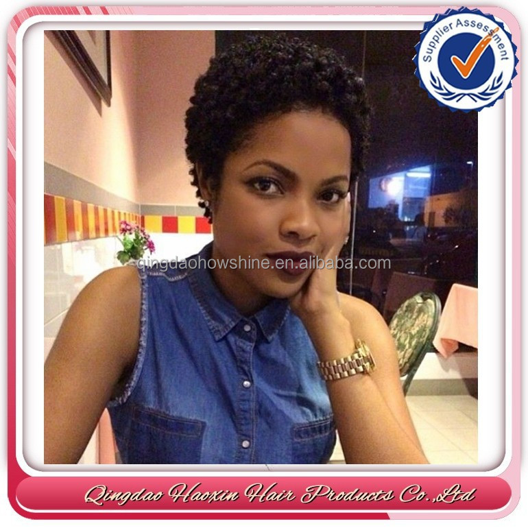 Short afro kinky curl natural color human hair toupee for black women