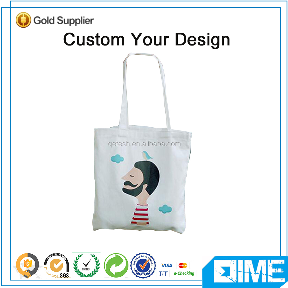 Light White Foldable Shopping Canvas Bag Tote With Pouch