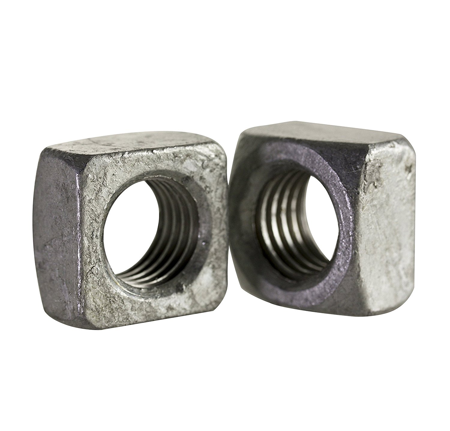 """Steel Square Nut, Hot-Dipped Galvanized Finish, Grade 2, Meets ASME B18.2.2, 7/8""""-9 Thread Size, 1-5/16"""" Width Across Flats, 49/64"""" Thick (Pack of 175)"""