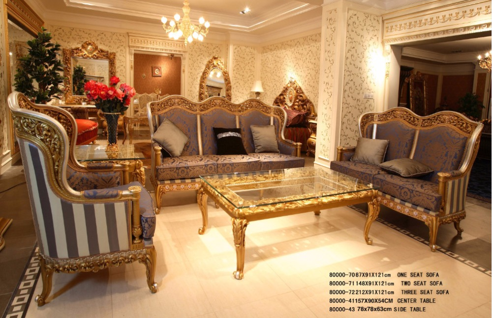 Luxury French Rococo Golden Wood Carving Purple Fabric Sofa Set/ Classic  European Elegant Sofa Set