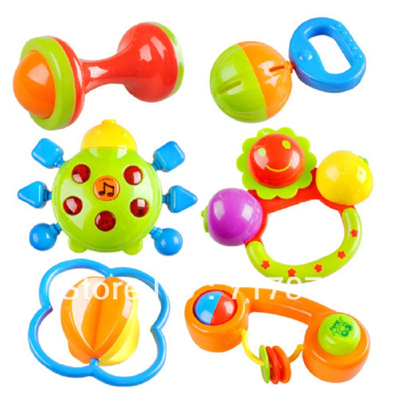 New Lovely Plastic Baby Toys Hand Shake Bell Ring Rattles toys Baby Educational Toys Free shipping