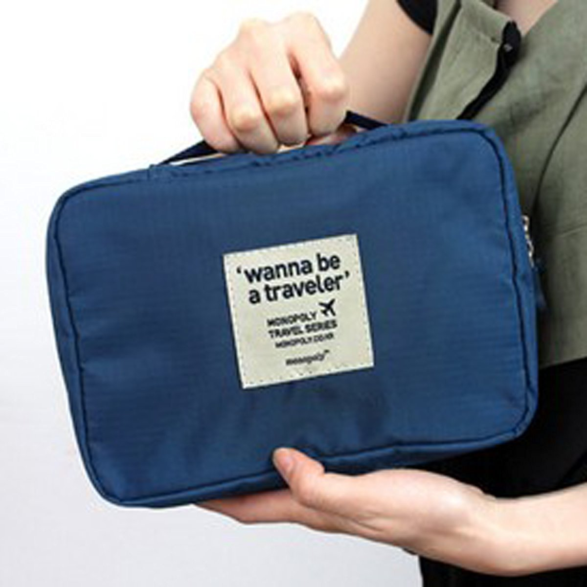 DEHANG Waterproof Nylon Ventilated Grid Durable Portable Multifunctional Travel Organser Storage Bag Dark Blue