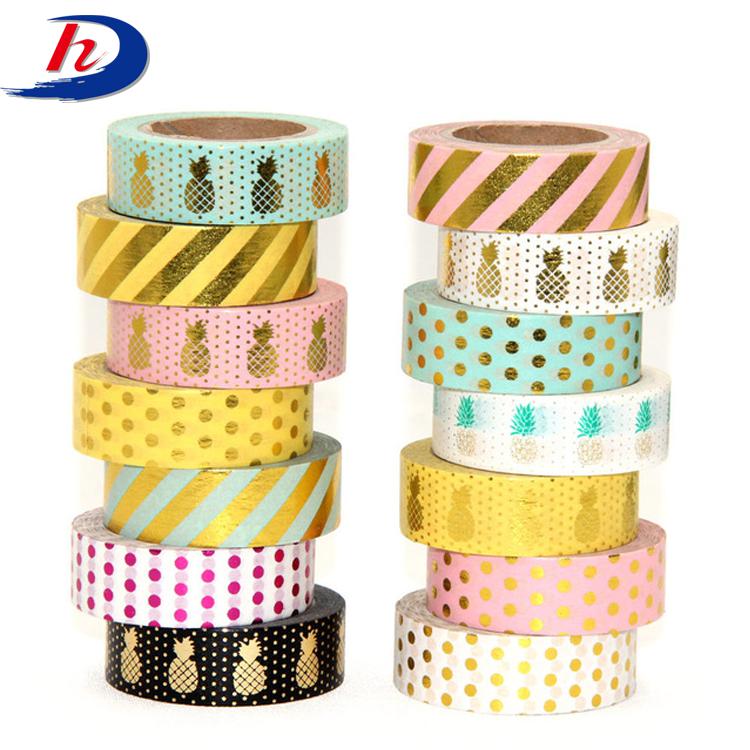 Colorful Gold Foil Stationery Self Adhesive Washi Masking Tape