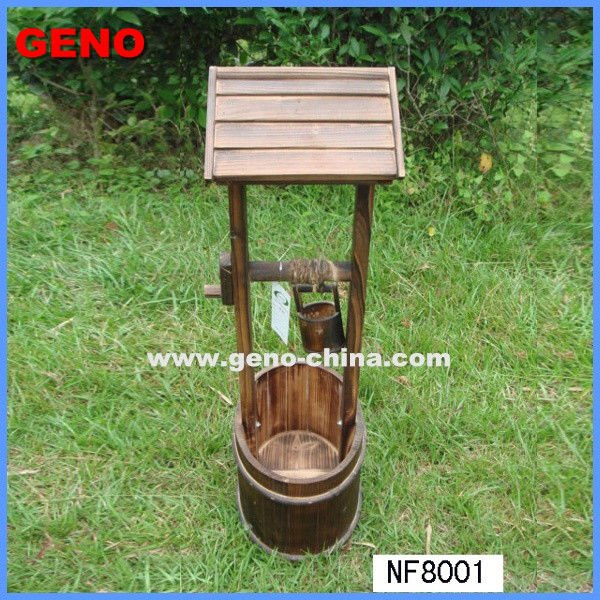 double-deck wooden flower pot for garden and home planting