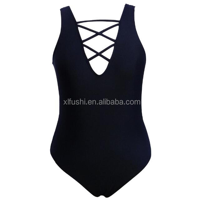 NEW!STOCK Black Cross Strap Front Low Back Sexy Woman Bathing Suit
