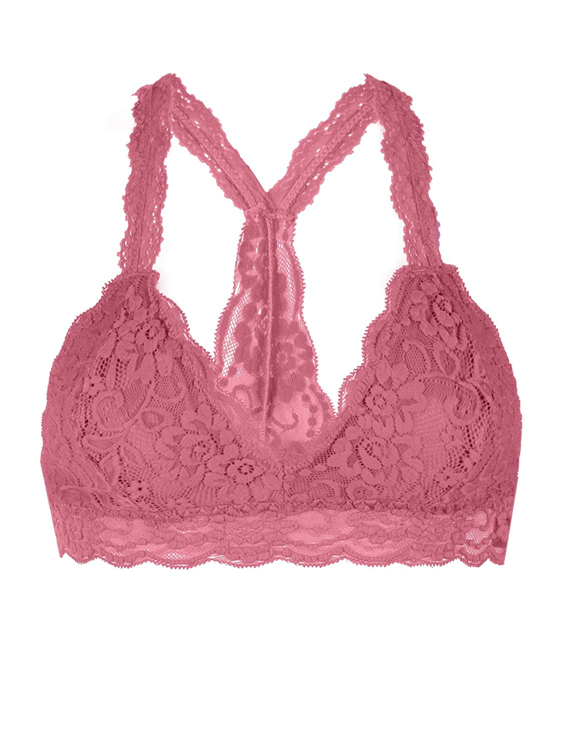 c541ab531 Get Quotations · Floral Lace Racerback Unpadded Bralette Top Sheer Bustier  Crop Wireless Lingerie Bra S Mauve