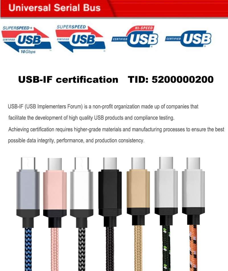 usb type c cable 3.1 5a 100W USB IF certified for mobile phone