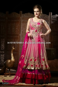 Hot Pink indian Bridal Jacket Lehenga dress 2017