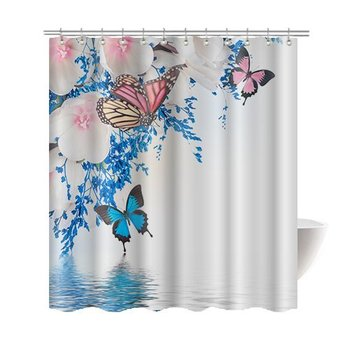 Pink White Flowers And Blue Butterfly Bath Home Decor Of Waterproof Bathroom Polyester Fabric Mildew Resistant