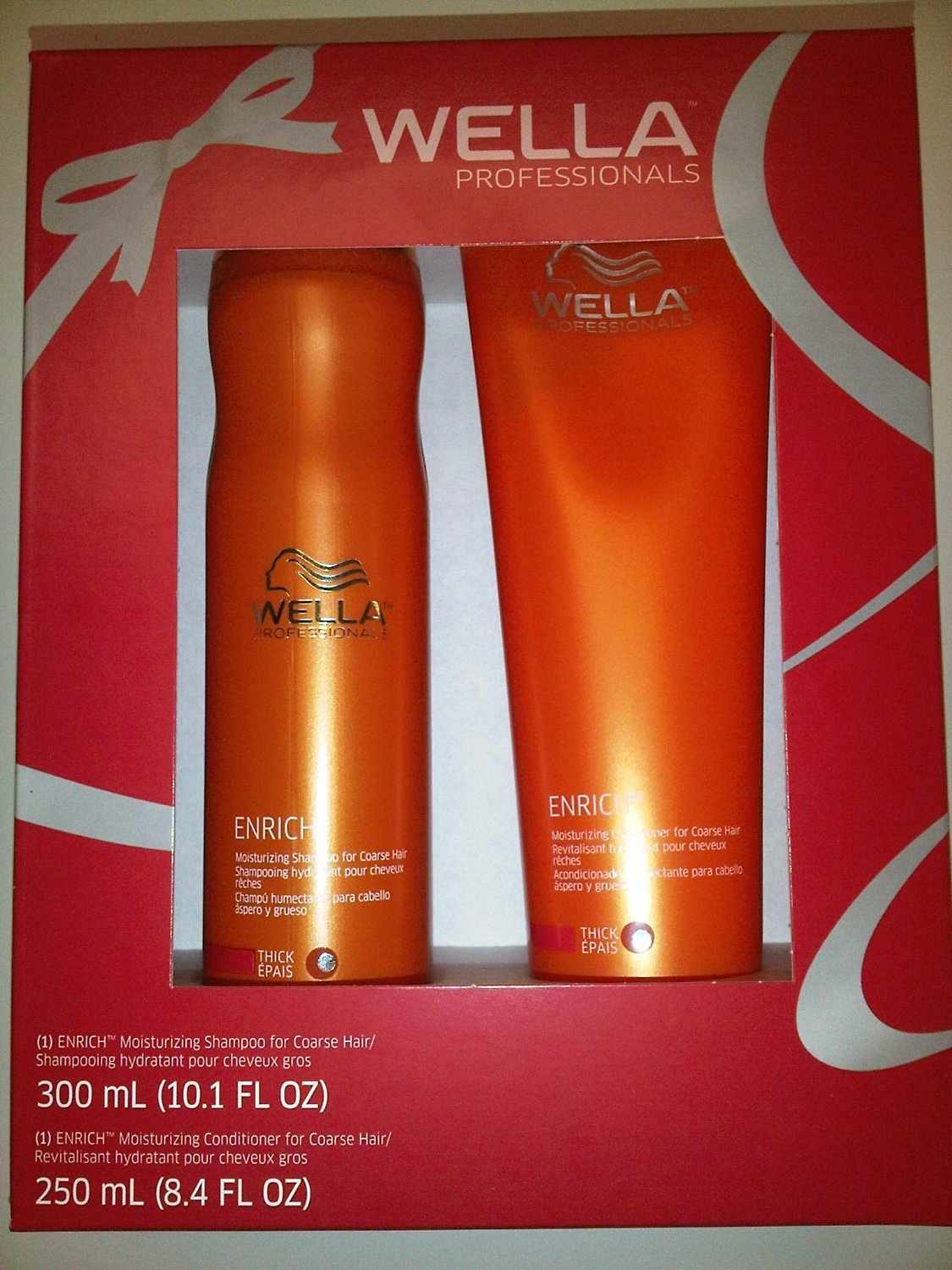 Wella Professionals Enrich Moisturizing Shampoo 10.1 oz and Moisturizing Conditioner 8.4 oz. for Thick/Coarse Hair Duo Set Holiday Gift Box