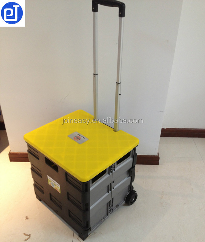Small size plastic folded crate trolley Shopping cart with plastic foldaway box
