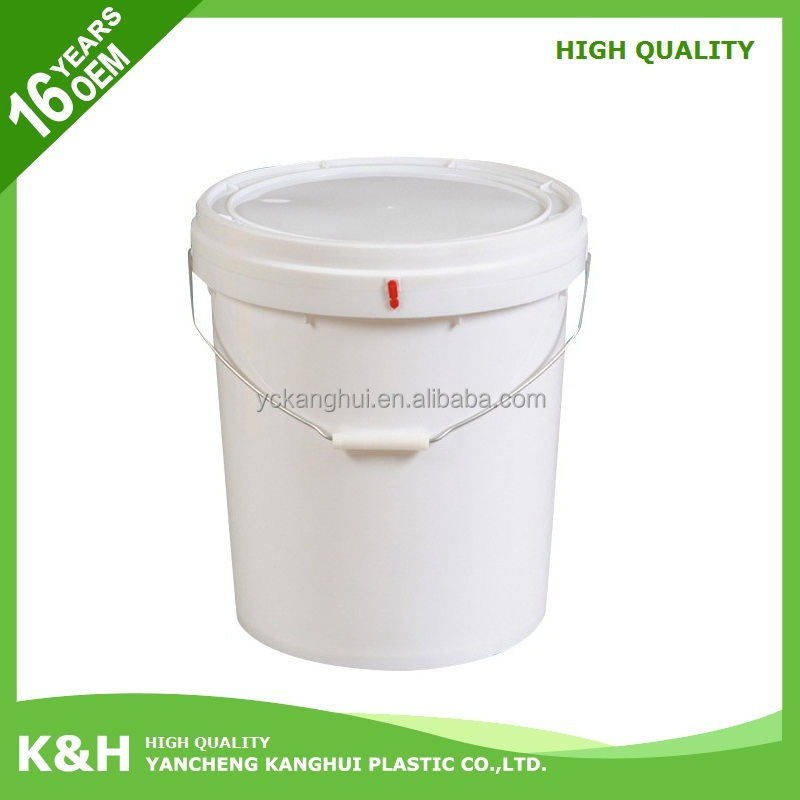 Plastic pp white plastic bucket plastic bucket for paint 25 liter with steel handle with high quality