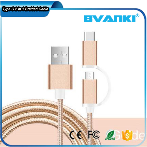 Factory Direct Sales Braided USB C 3.1 To USB A 3.0 Interface Type-C Cable,Fast Charger 2 In 1 Type C And Micro USB Cable