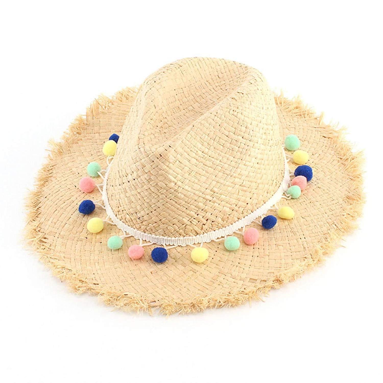 b82821ac3196b Get Quotations · Women Summer Sun Hat with Wide Brim Raffia Straw Hat Ladies  Foldable Beach Hats Anti-