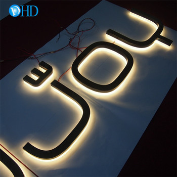 Outdoor wall mount shop signage 3D acrylic stainless steel backlit sign letters Led back glow letters sign