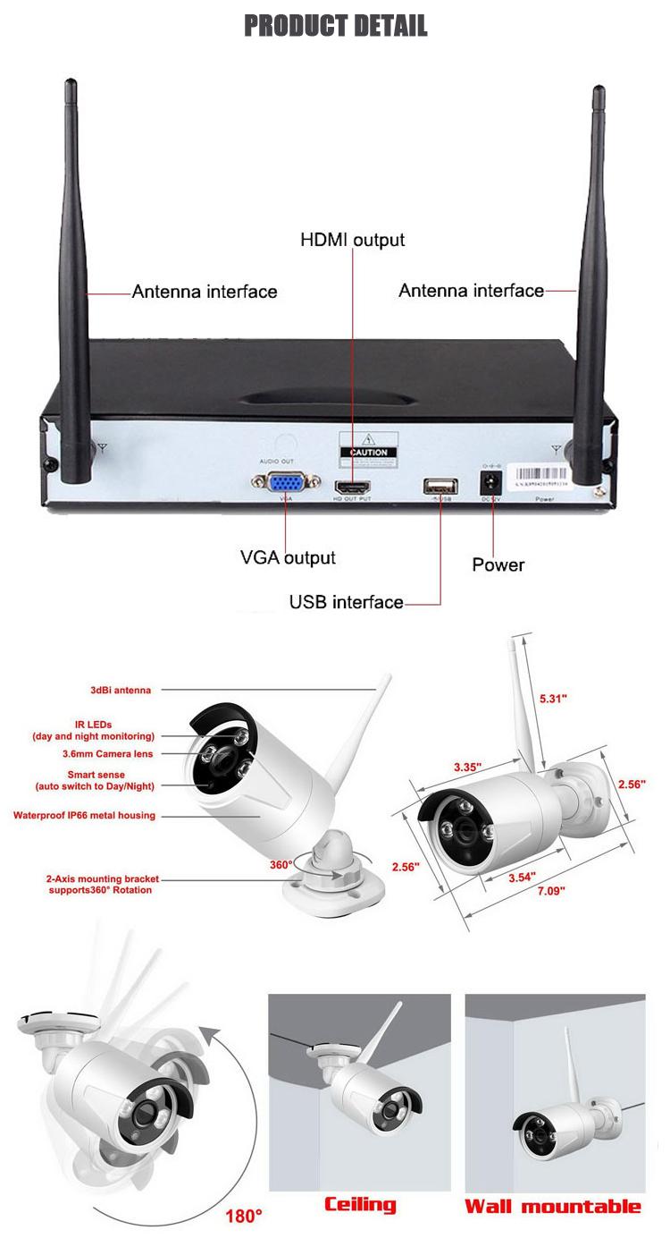Video überwachung 1080P wifi nvr 4ch kamera kit wireless home sicherheit cctv system