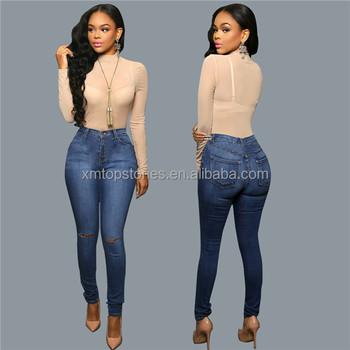 Nuevo estilo más pantalones vaqueros lápiz de tamaño para las mujeres gordas dc3f7487391
