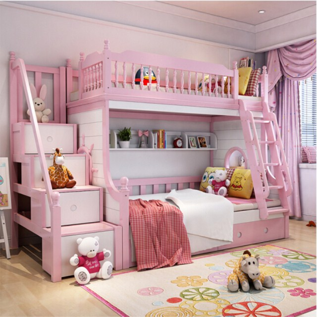 Solid Wood Romantic Pink White Princess Kids Bunk Beds Bedroom Furniture  Set - Buy Kids Bunk Beds,Wooden Bunk Beds,Funky Bunk Beds Product on ...