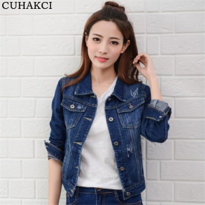Autumn Turn Down Collar Jeans Women Jacket Single Breasted Slim Short Denim Jackets Female Coat Vintage Outwear