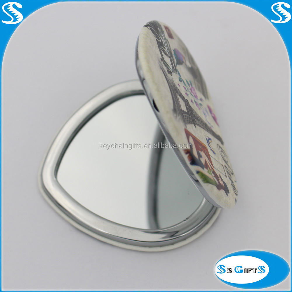 2015 hot sale heart shaped handheld mirror make up mirror
