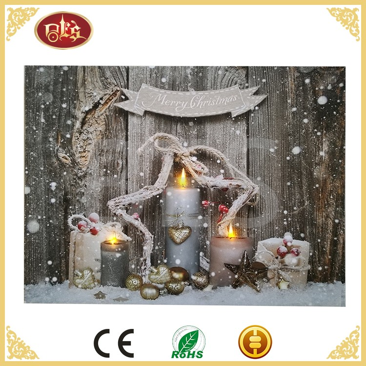 High quality winter scenery painting ,custom led canvas decoration printing
