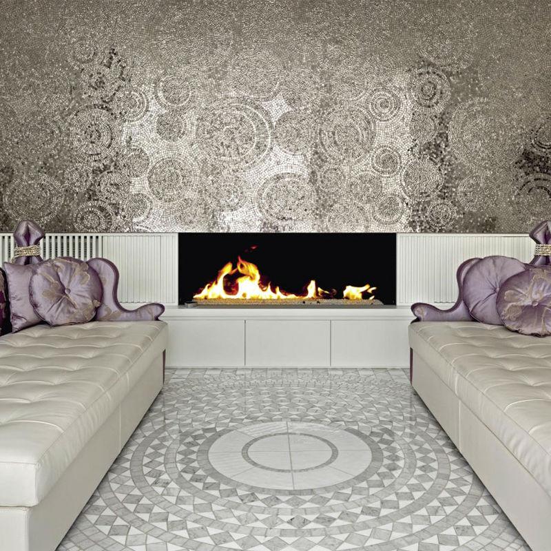 Moderna casa decorar handcarft papel pintado de plata de - Chimeneas de pared modernas ...