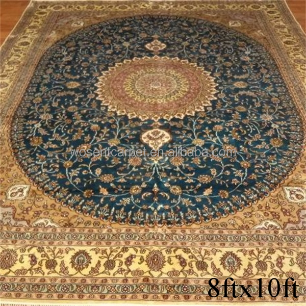 China hand made artificial silk carpets rugs