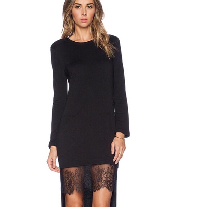 Lace Patchwork Asymmetrical Dress desigual  Fashion Women O-neck Long Sleeve Elegant Black Dress vestido  (4)