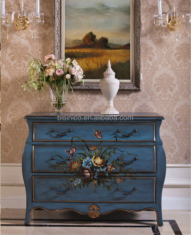 Glorious Art Decor Drawer Console Table Decorative Hand Painted Chest Of Drawers Vintage Wooden Living Room Furniture
