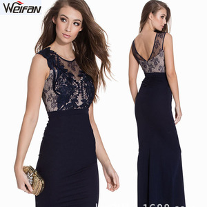 Female maxi dress OEM service lace gown dress hand embroidery design for women evening dress
