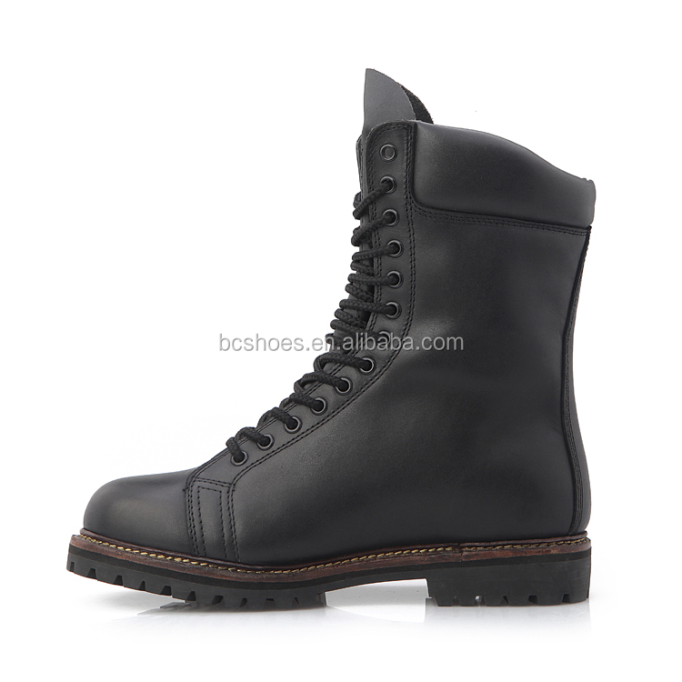 long tongue /police tactical boots/China Army Safety boots black patent leather military boots