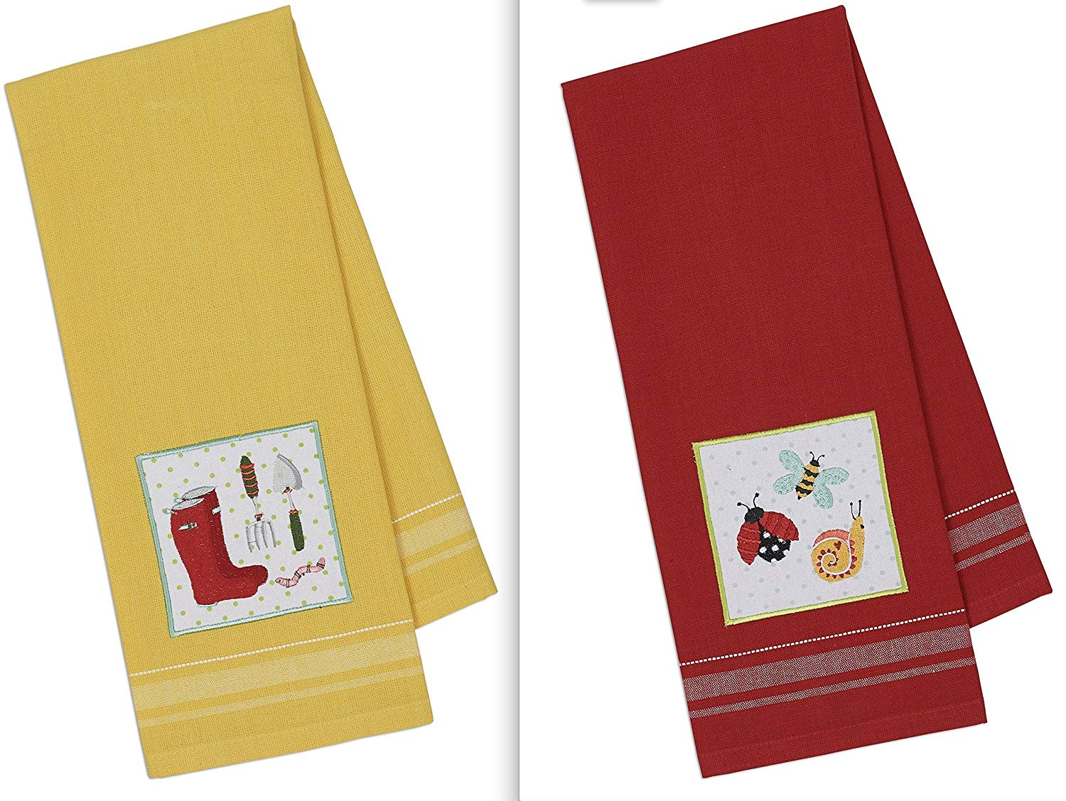 Red Bugs Yellow Gardener DII Design Imports Spring Green Thumb Embellished Kitchen Dish Towels Set of 2