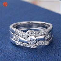 Gold Wedding Rings Sets for Women Promise Couples Rings Jewelry Simple Zircon Ringer Rings
