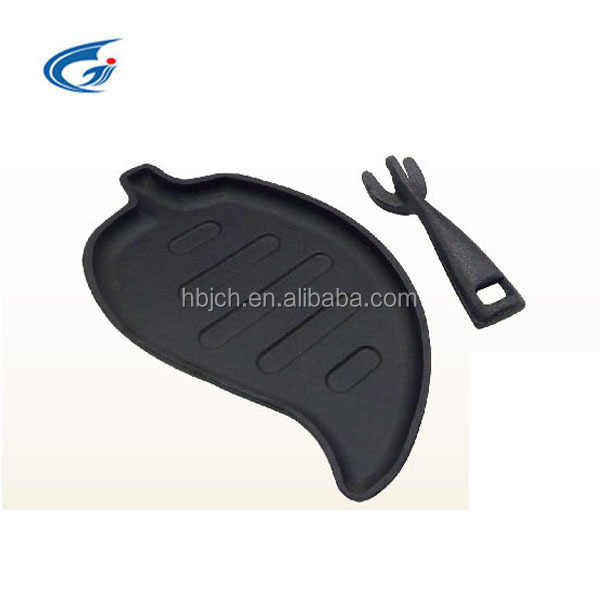 leaf shaped cast iron sizzling plate/steak pan