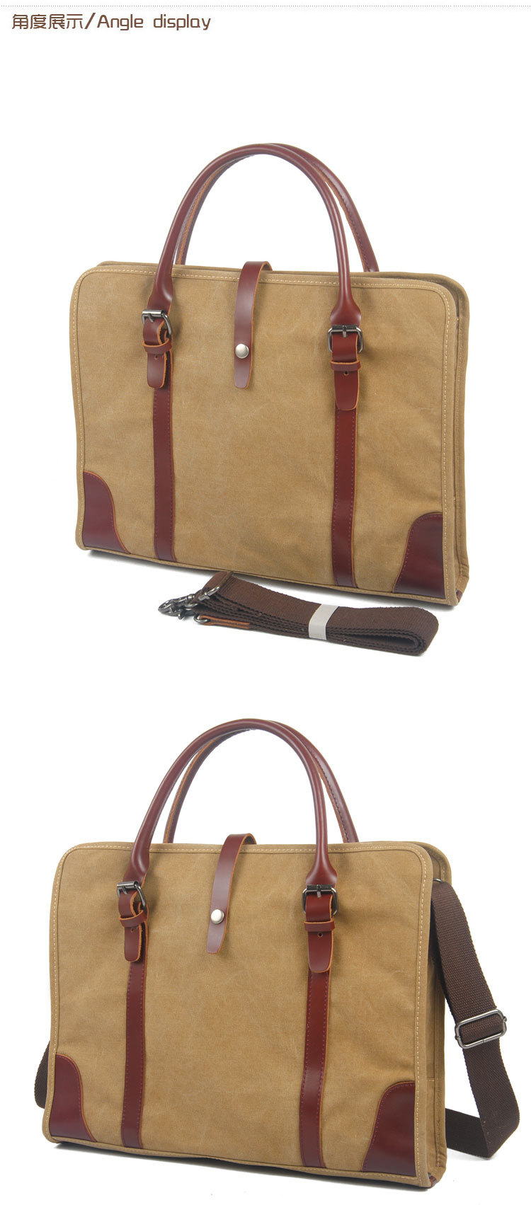 Men's Canvas leather travel handbag for business