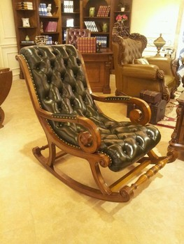 Antique Wooden And Leather Rocking Chair