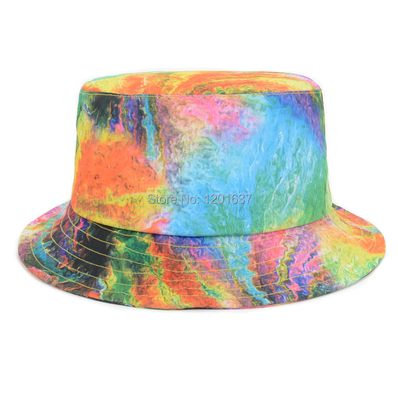 Get Quotations · New Design Ladies Bucket Hats Rainbow Multi Print Beach  Bucket Hat For Women Casual Fisherman Cap 4e09b63418c